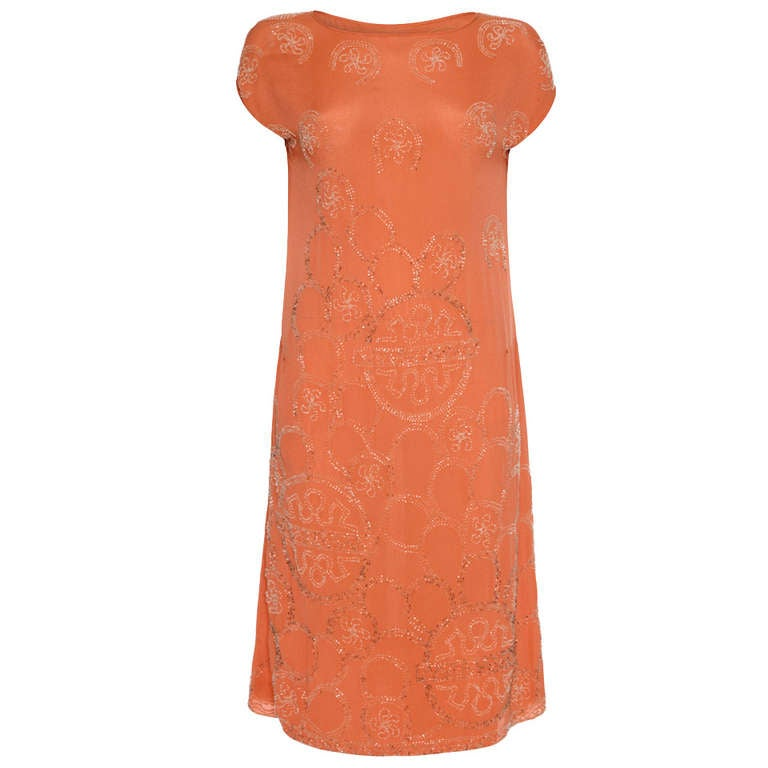 Beautiful 1920's Beaded Peach Flapper Dress For Sale