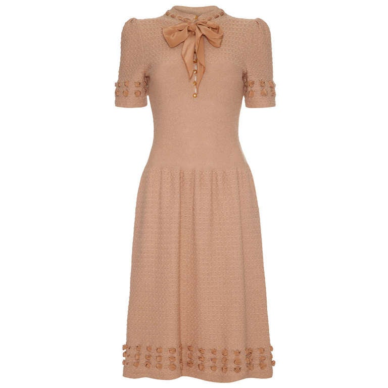 1950's pink taupe knitted dress with ribbon detail 1