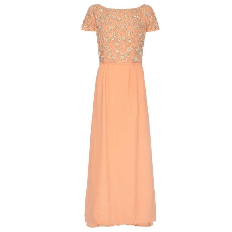 1960's Peach Crepe Full Length Dress with Beaded Bodice