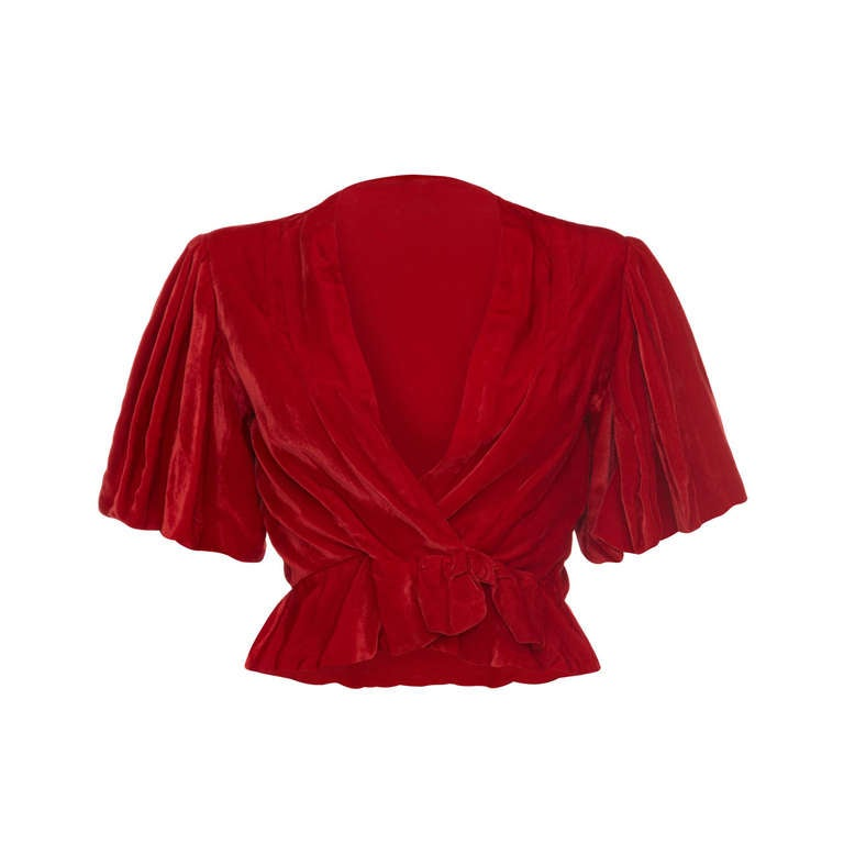1930's Red Silk Velvet Jacket 1