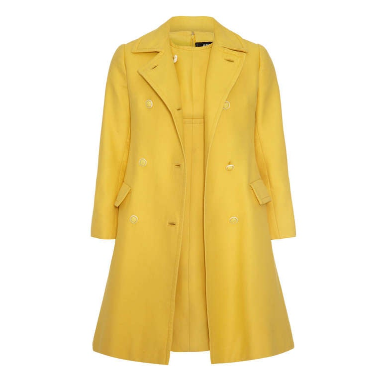 1960's Christian Dior Yellow Button Up Coat and Matching Dress 1