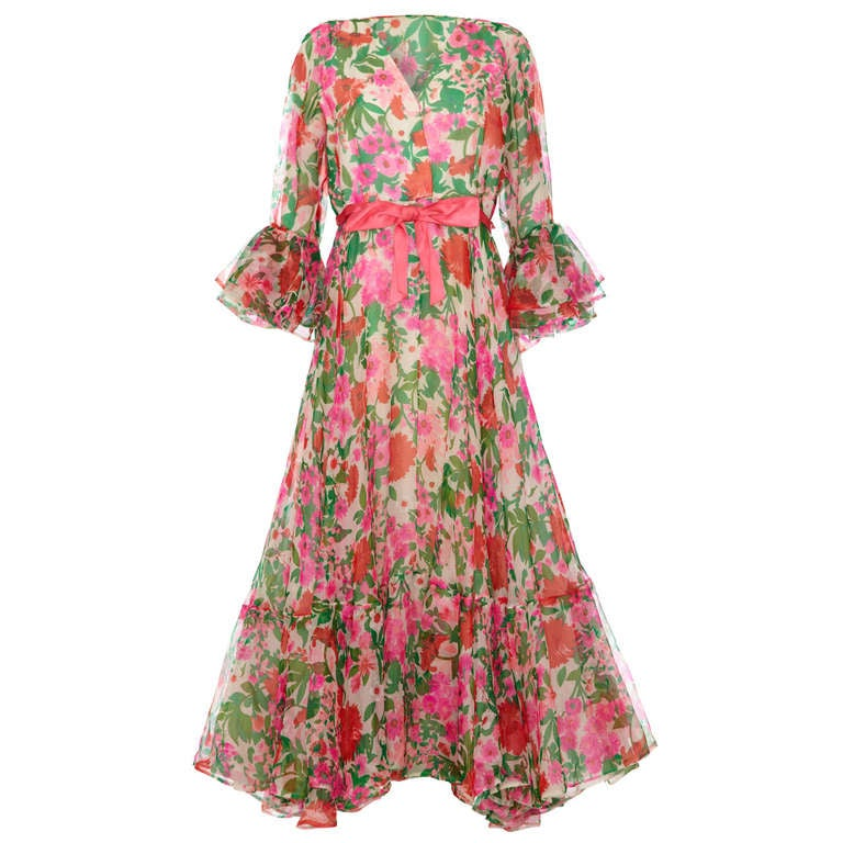 1960's Organza Maxi Dress with Bold Floral Print 1