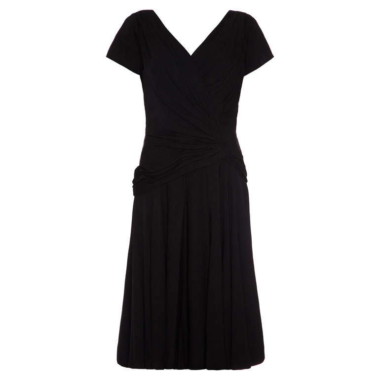 8cc72fc5054 1950 s Black Ceil Chapman Crossover Cocktail Dress For Sale at 1stdibs