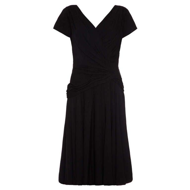 1950's Black Ceil Chapman Crossover Cocktail Dress