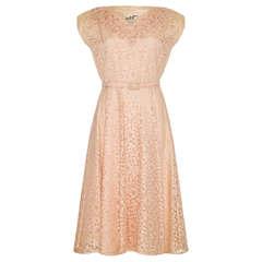 1950's Pale Pink Lace Dress with Applique Detail