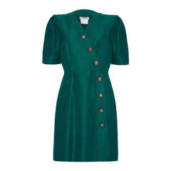 1980's YSL Green Silk Button Up Dress