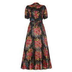 1930's Colourful Lame Floral Dress