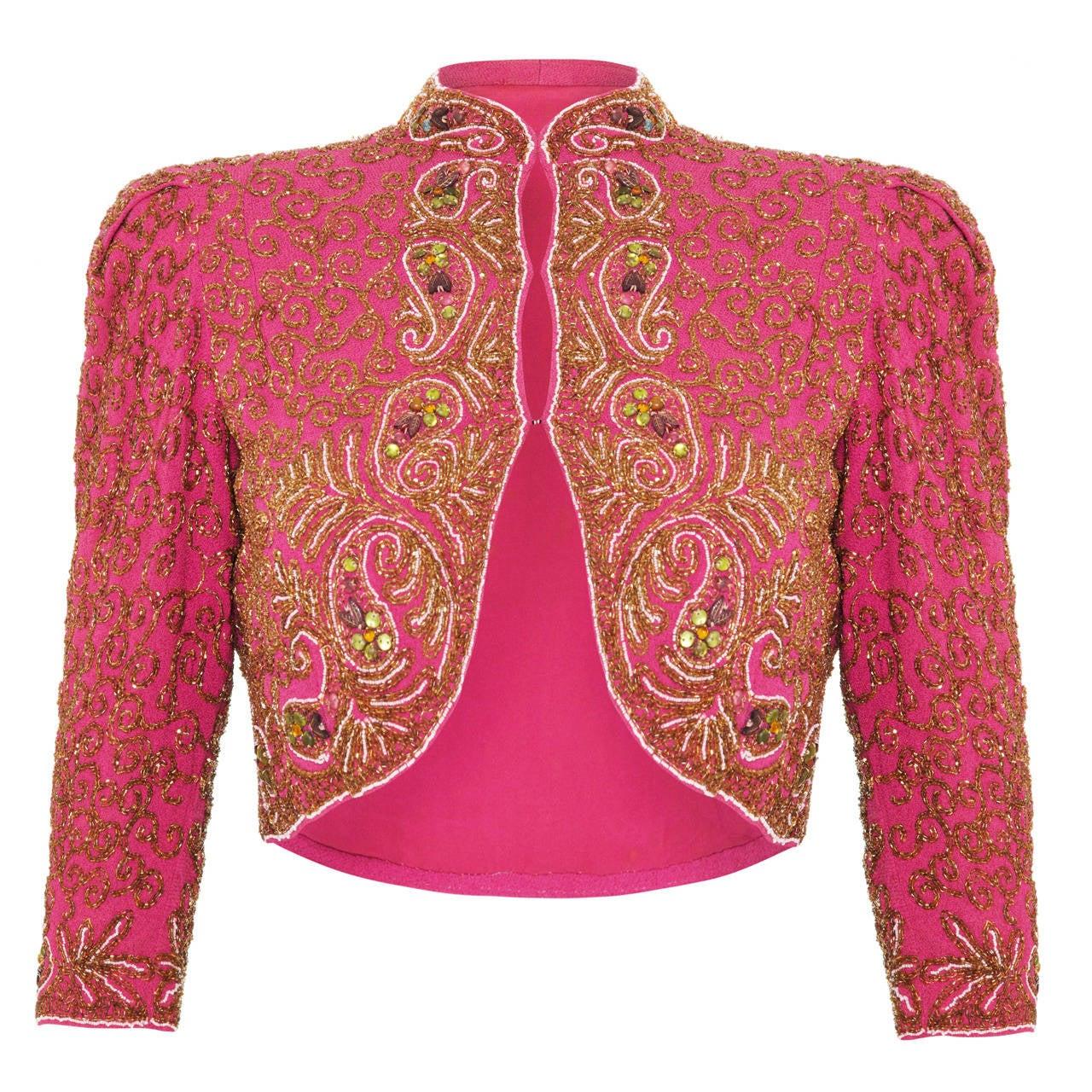 Spectacular 1930s Pink Silk Beaded Bolero Jacket 1