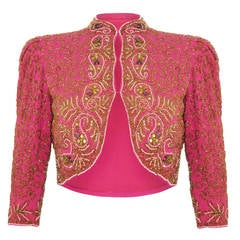 Spectacular 1930s Pink Silk Beaded Bolero Jacket