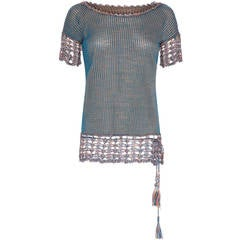 1920s Knitted Blue Check Top