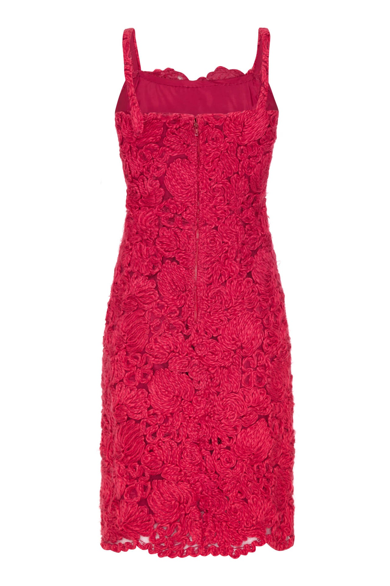 1960s french couture red wool applique dress suit for sale for French couture dresses