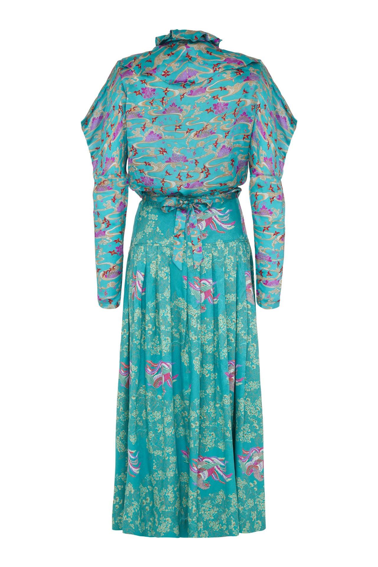 Blue 1970s Rare Ungaro Silk 4-Piece Oriental Ensemble For Sale