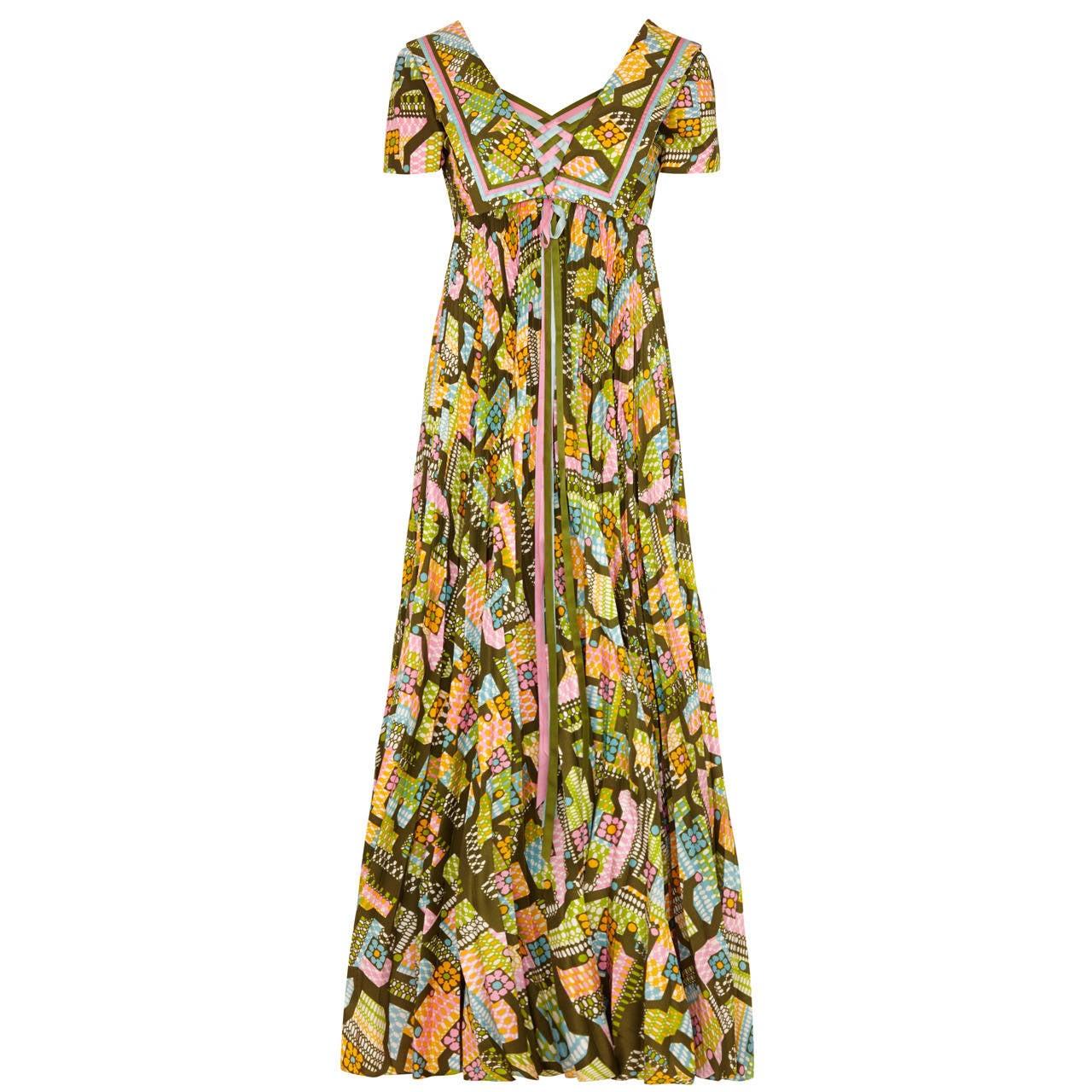 1970s Hardy Amies Pleated Maxi Dress