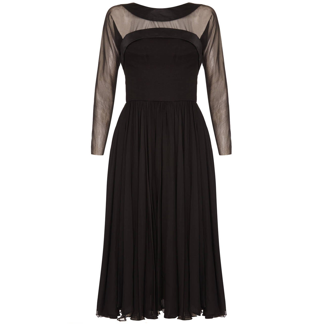 1960s Helena Barbieri Black Silk Chiffon Dress
