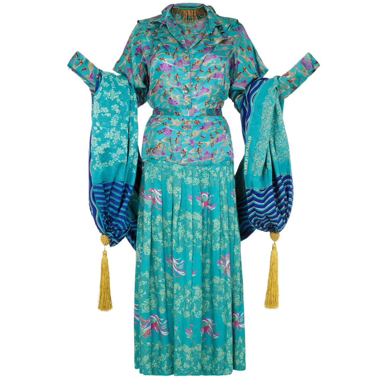 1970s Rare Ungaro Silk 4-Piece Oriental Ensemble For Sale