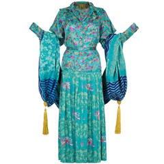 Late 1970s early 1980s Ungaro Silk 4-Piece Oriental Ensemble