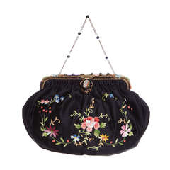 1920s French Black Silk Bag With Floral Embroidery & Hand Beadwork Frame