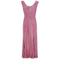 1920s Pink Lame Long Flapper Dress