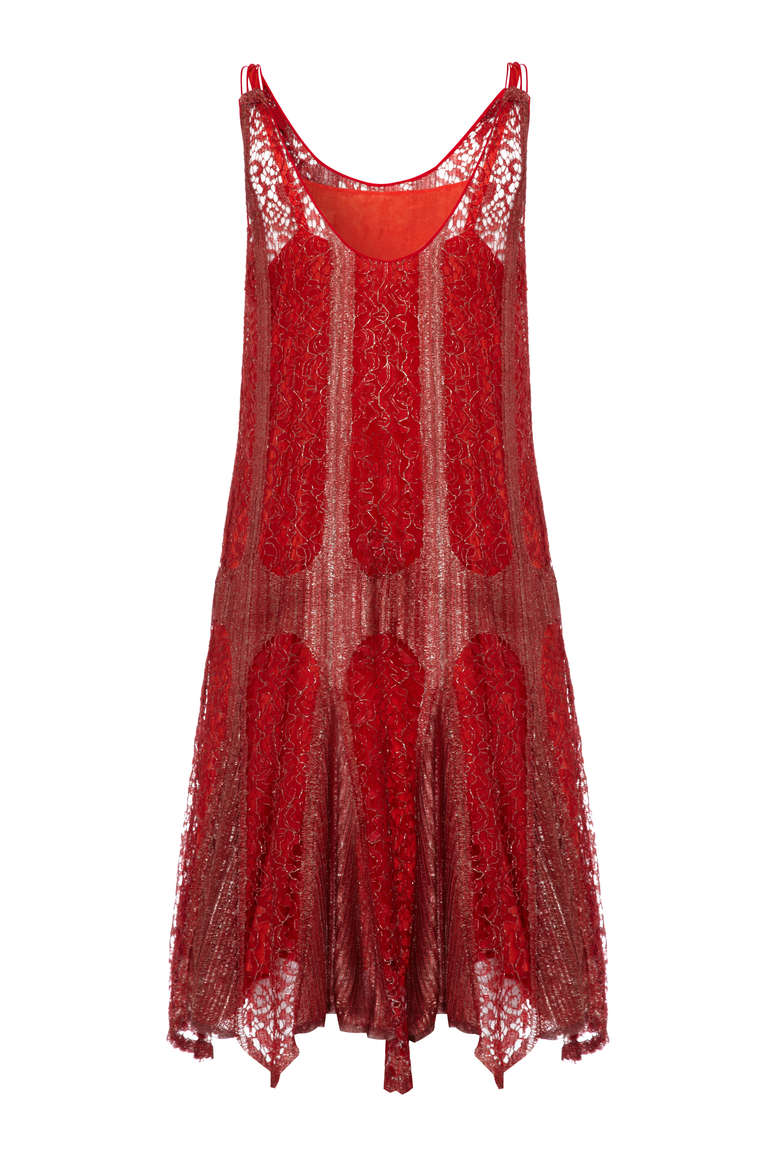 Sensational Little Fler Dress In Red And Metallic Silver Lame Lace With A Matching Slip