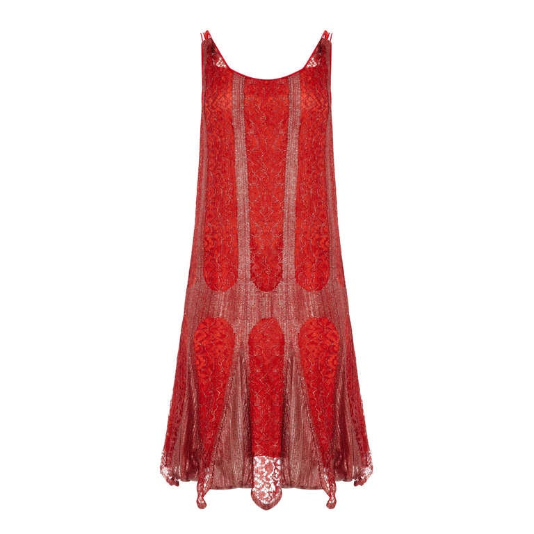 1920's Red and Silver Lame Flapper Dress For Sale