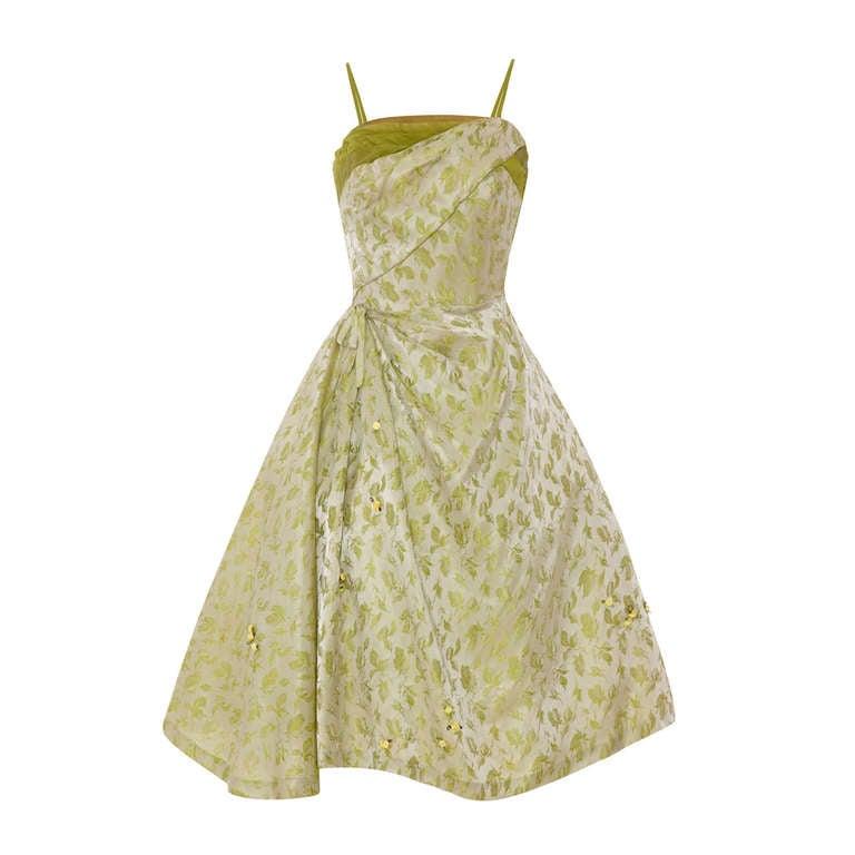 1950's Green Silk Brocade Dress For Sale