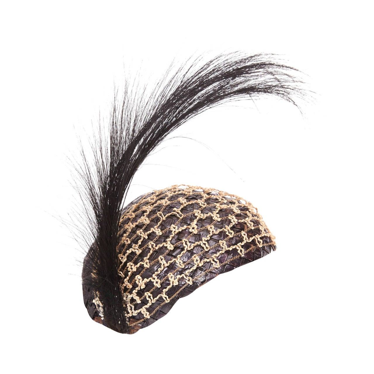 1920s Black Raffia Flapper Hat For Sale