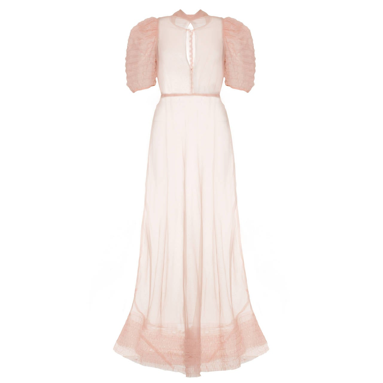 1930s Sheer Pink Organza Tea Gown with Slip
