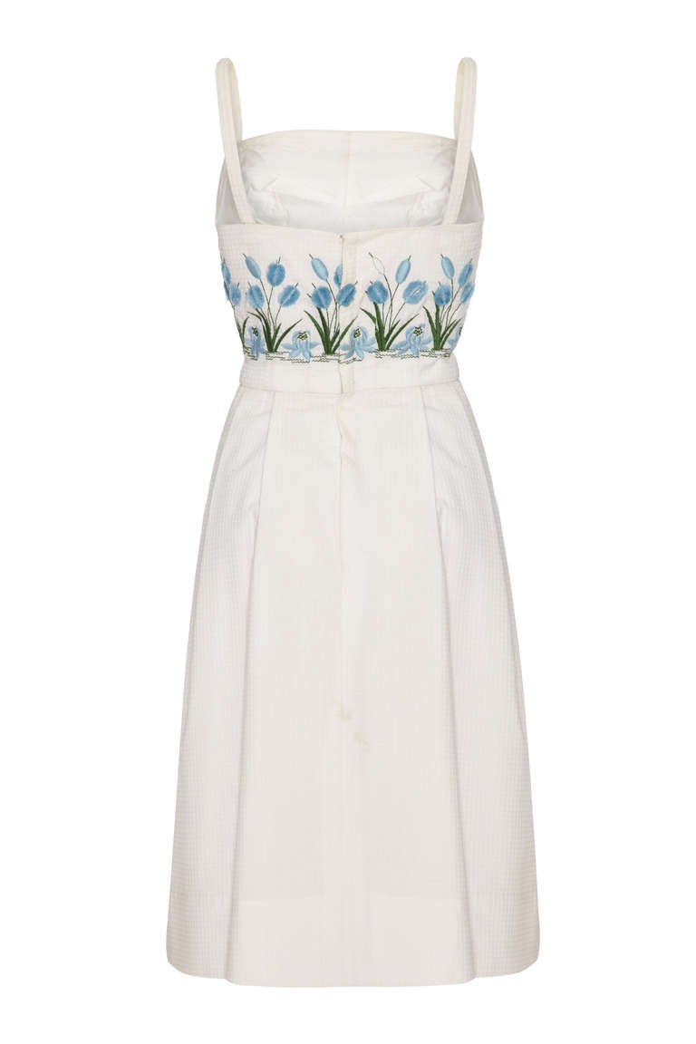 1950s/60s Tina Leser White Sundress with 3D Embroidery 2