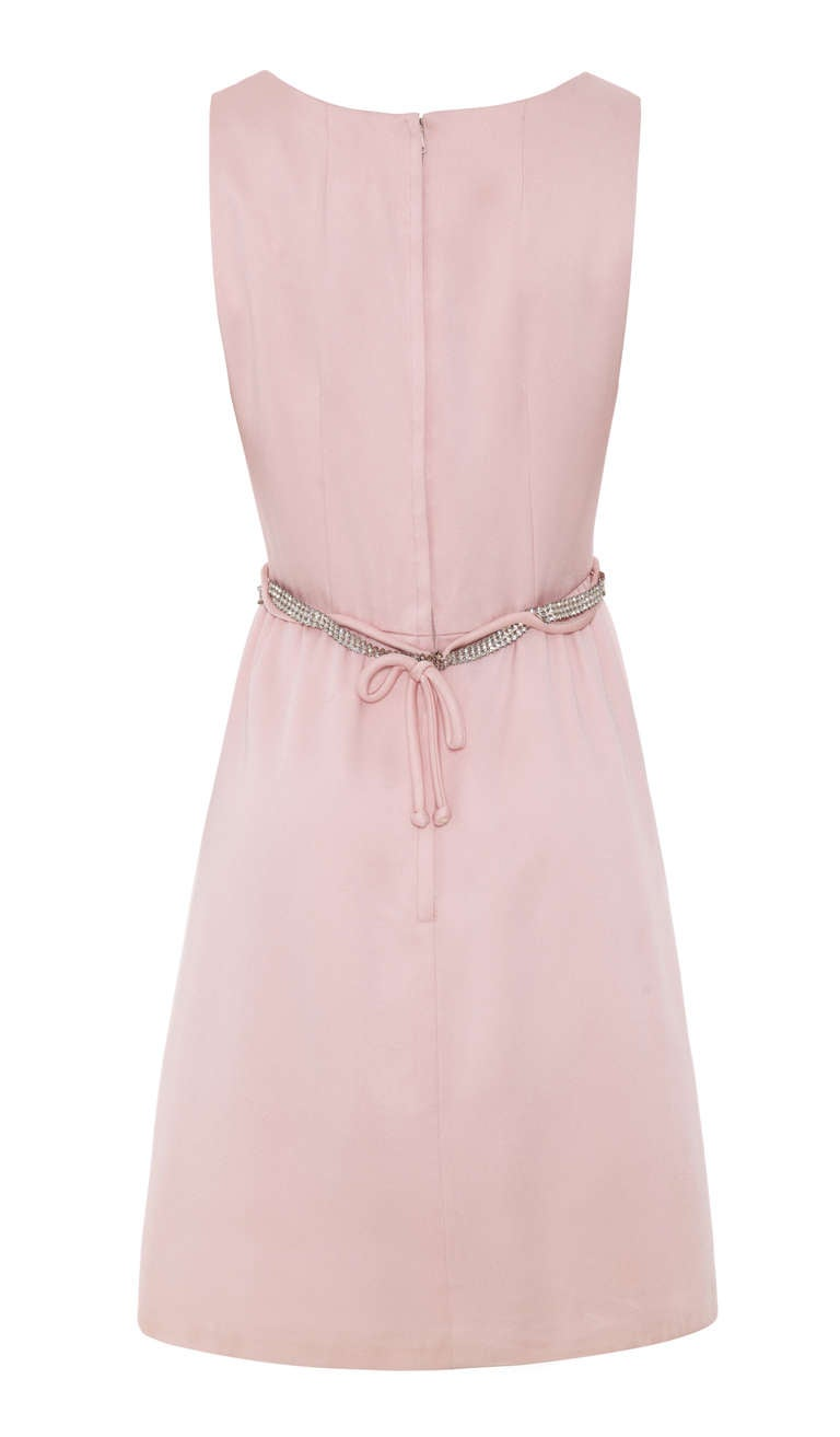 1960's Victor Costa Pink Dress with Rhinestone Belt 2