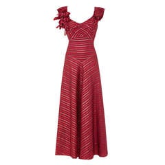 1930's Maroon and Gold Lame Silk Full Length Dress