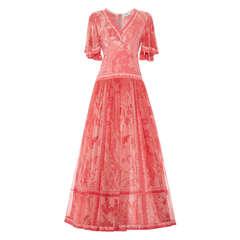 1970's Bessi Pink Silk Jersey and Chiffon Maxi Dress