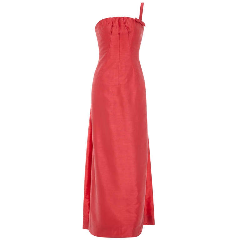 1960s Frank Usher Coral Silk Gown