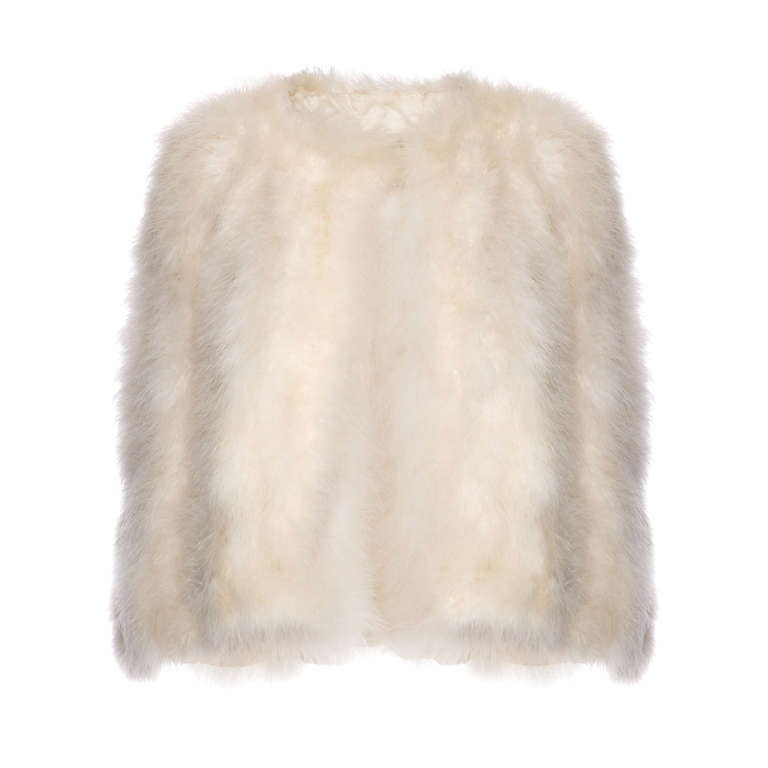 1950's Ivory Marabou Feather Cape For Sale