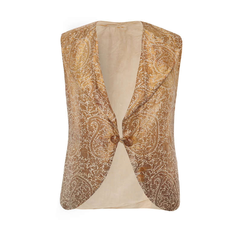 1930's Gold Brocade Indian Waistcoat For Sale