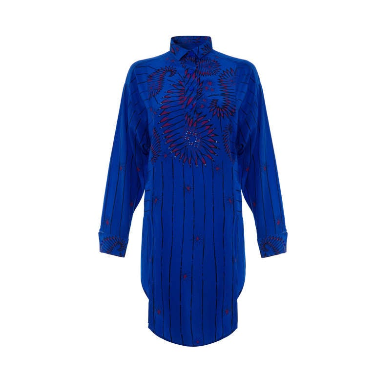 3bf1588cd44d4 1970 s Zandra Rhodes Oversized Blue Silk Shirt For Sale at 1stdibs
