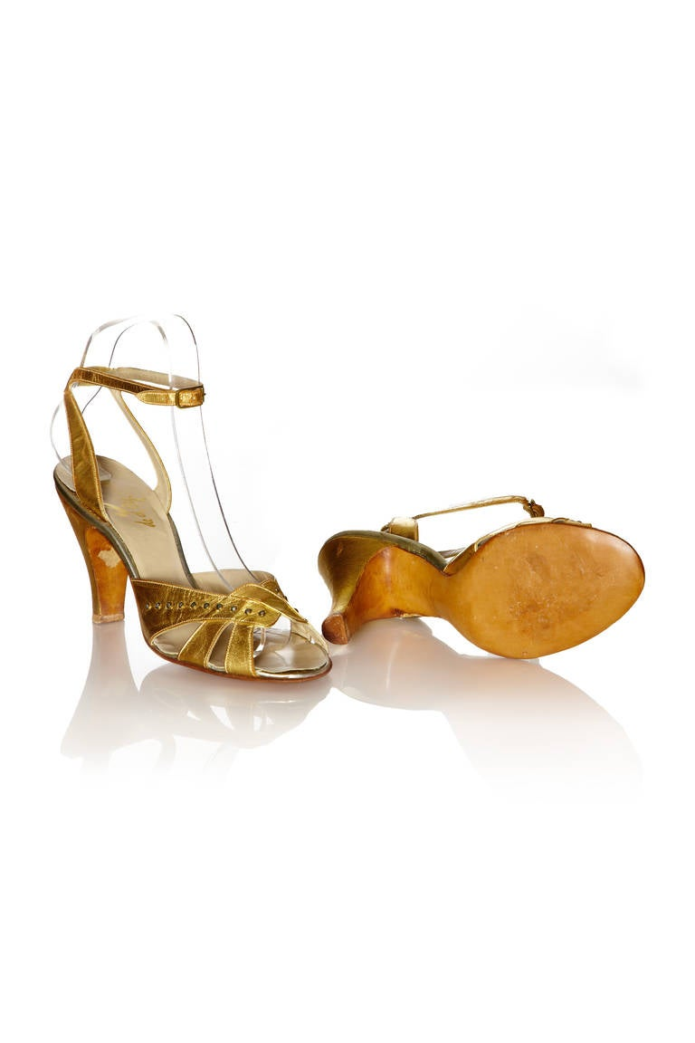 1930's Gold Leather Shoes 3