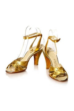 1930's Gold Leather Shoes