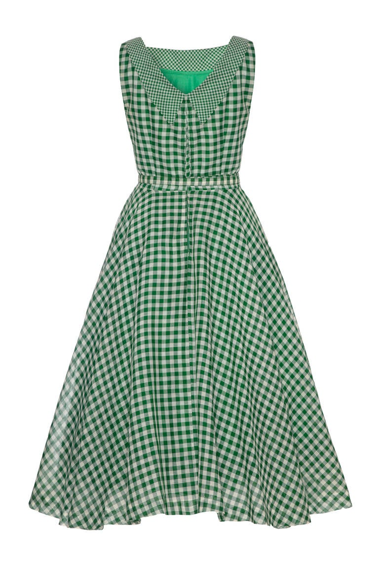 1950s Green Gingham Ribbon Dress 2