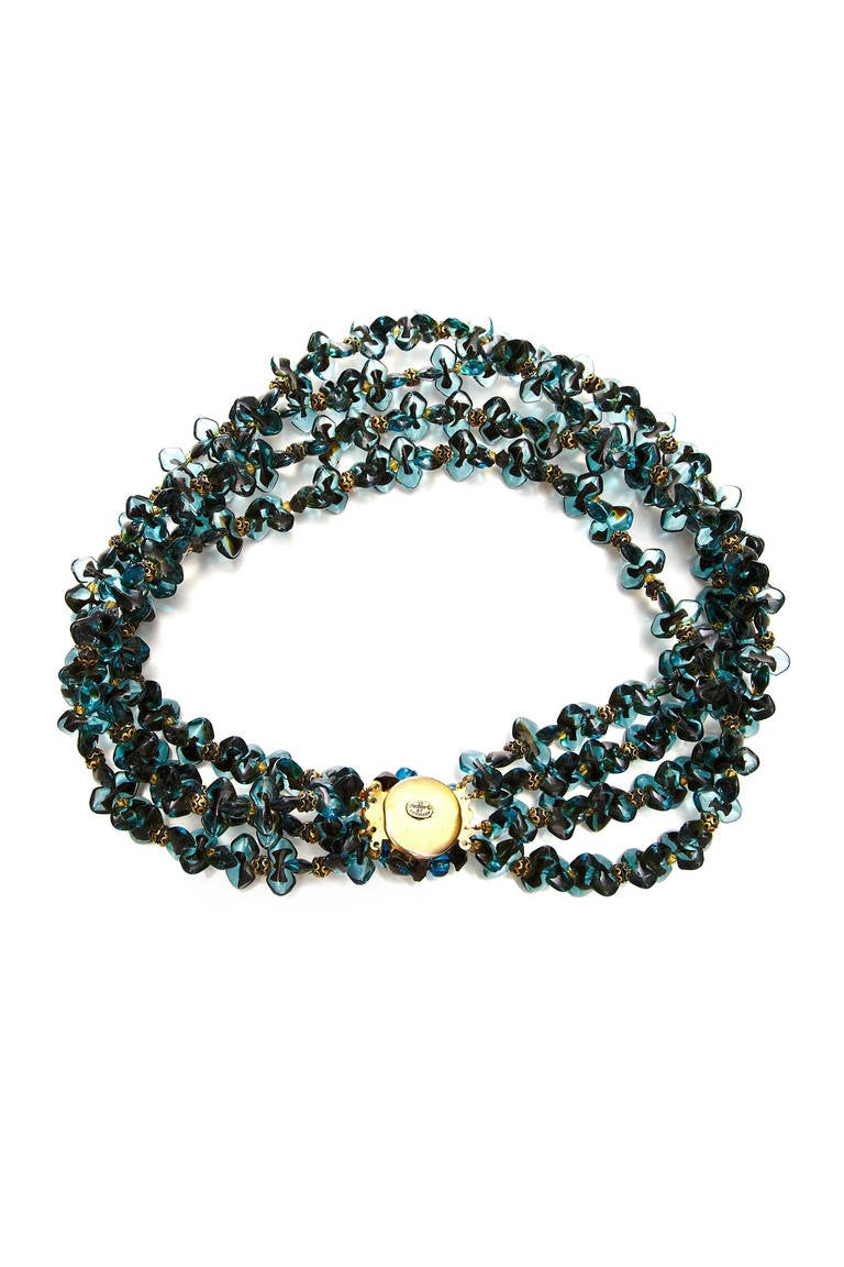 1960s Christian Dior Glass Beaded Choker Necklace 2