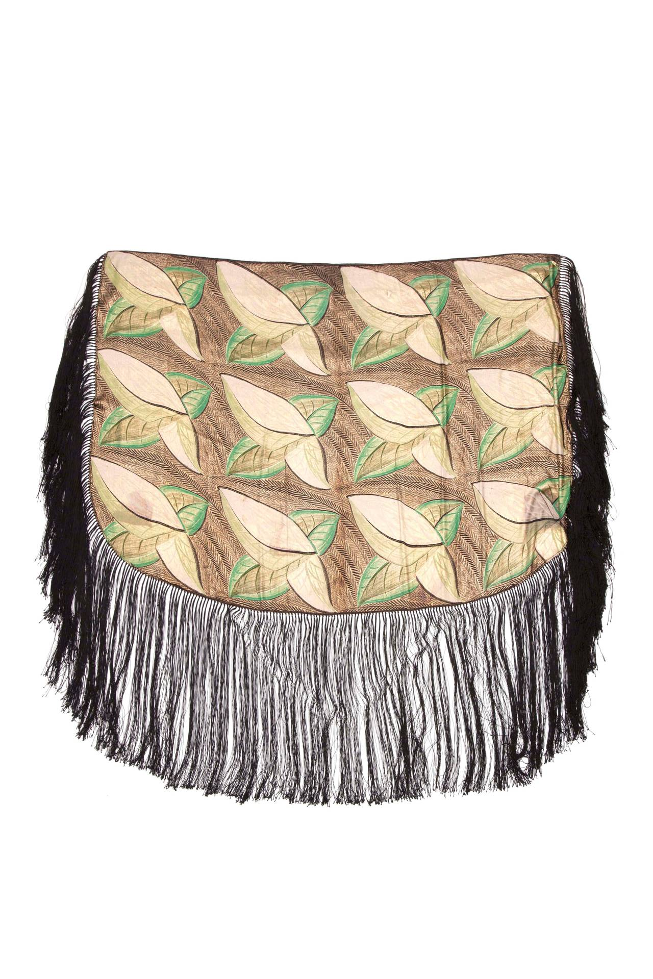 1920s/1930s Lame Scarf with Leaf Motif and Tassels 3