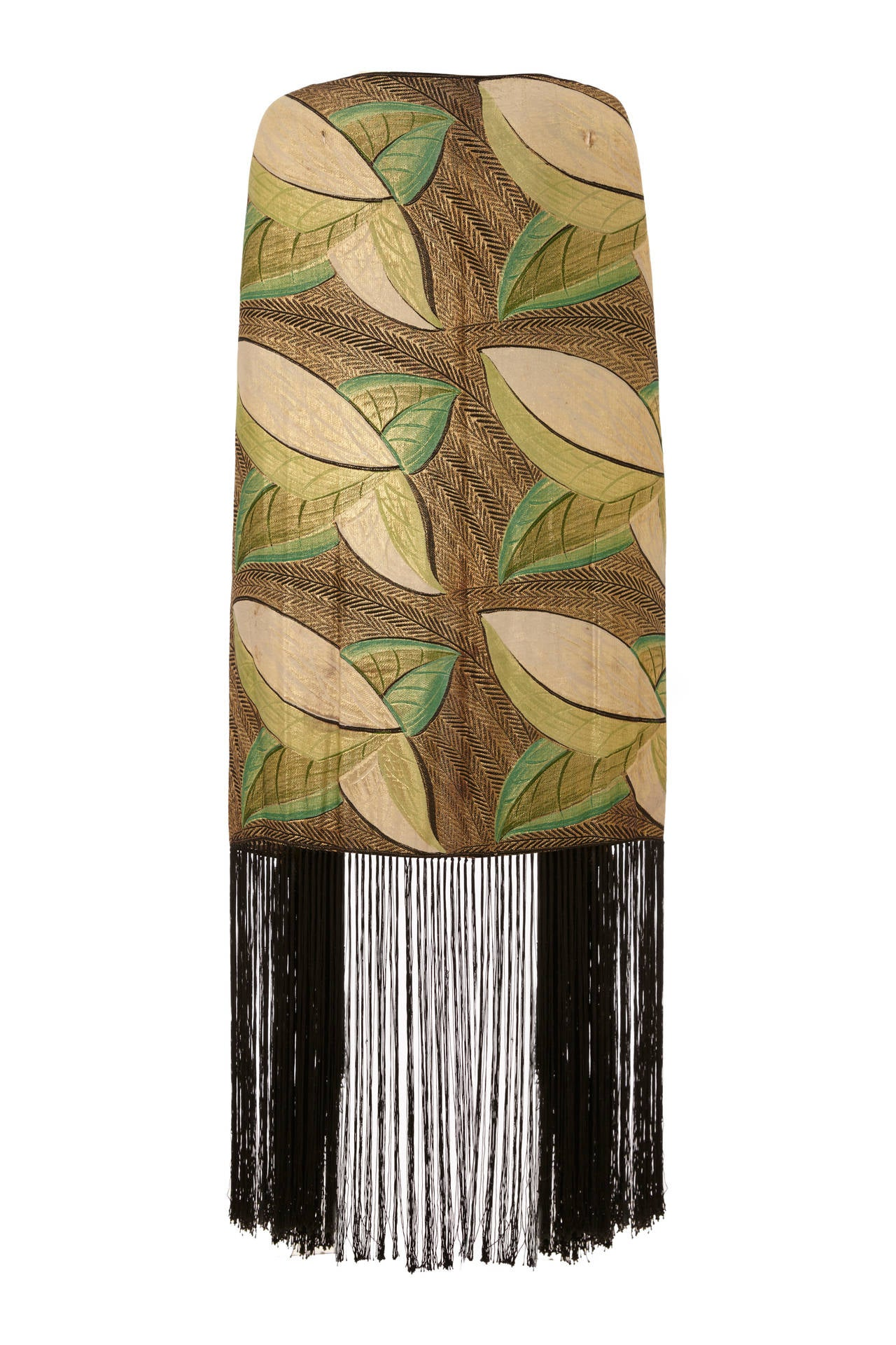 1920s/1930s Lame Scarf with Leaf Motif and Tassels 2