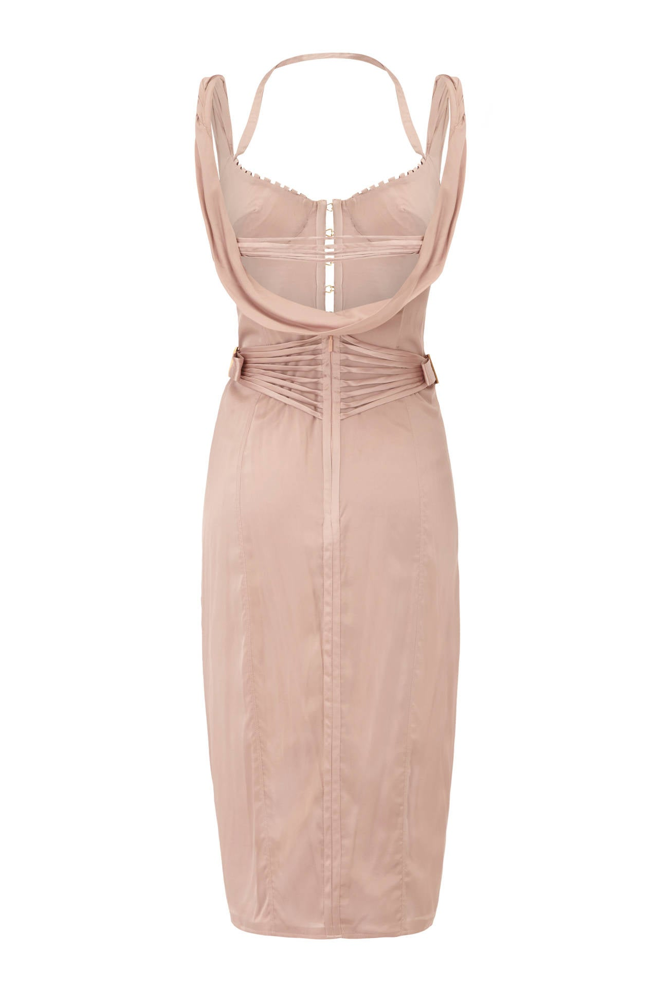 Gorgeous Lilac silk dress from Tom Ford's Fall 2003 ready-to-wear collection for Gucci.  This sexy dress features a corset top and cowl back with lots of strap and topstitching details.  It is 87% silk and 13% spandex making it very comfortable to