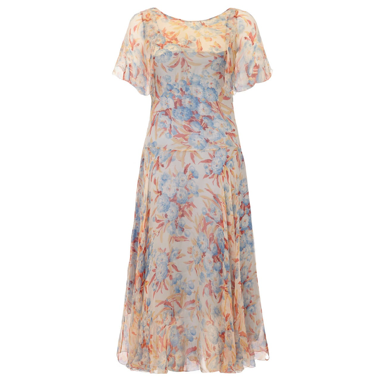 Outstanding 1920s Silk Chiffon Floral Dress For Sale