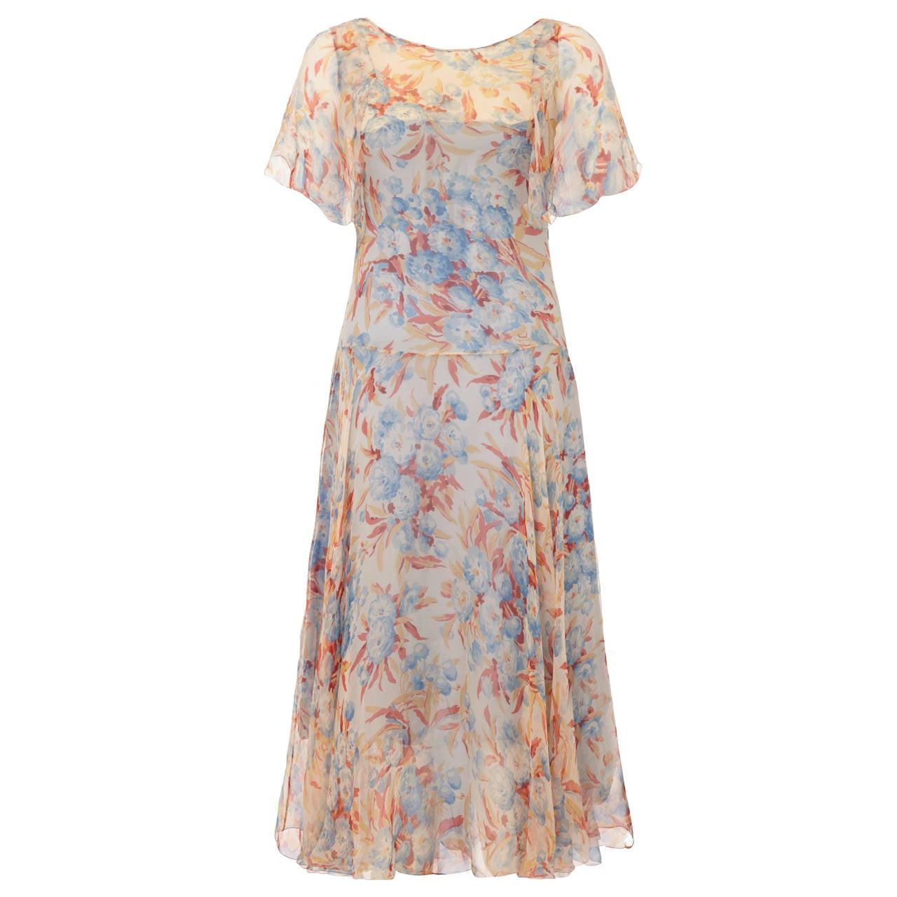Outstanding 1920s Silk Chiffon Floral Dress 1