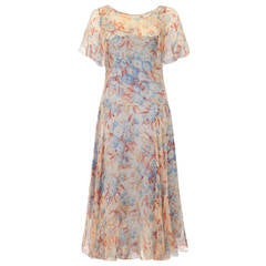 Outstanding 1920s Silk Chiffon Floral Dress