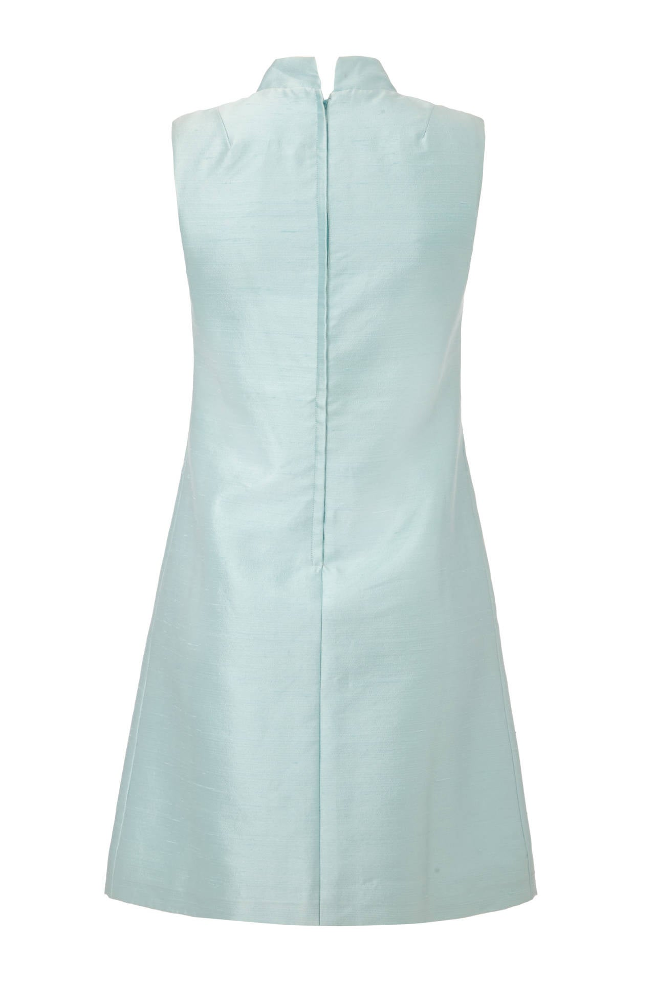 1960s Peck and Peck Pale Blue Silk Mini Dress 2