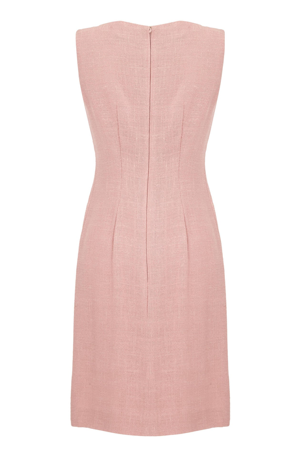 Great little 60s shift dress from British designer Susan Small.  This simple yet classic pale pink linen dress is incredibly versatile and could be easily dressed up or down.  It features a vent on the left side of the skirt, is fully lined and
