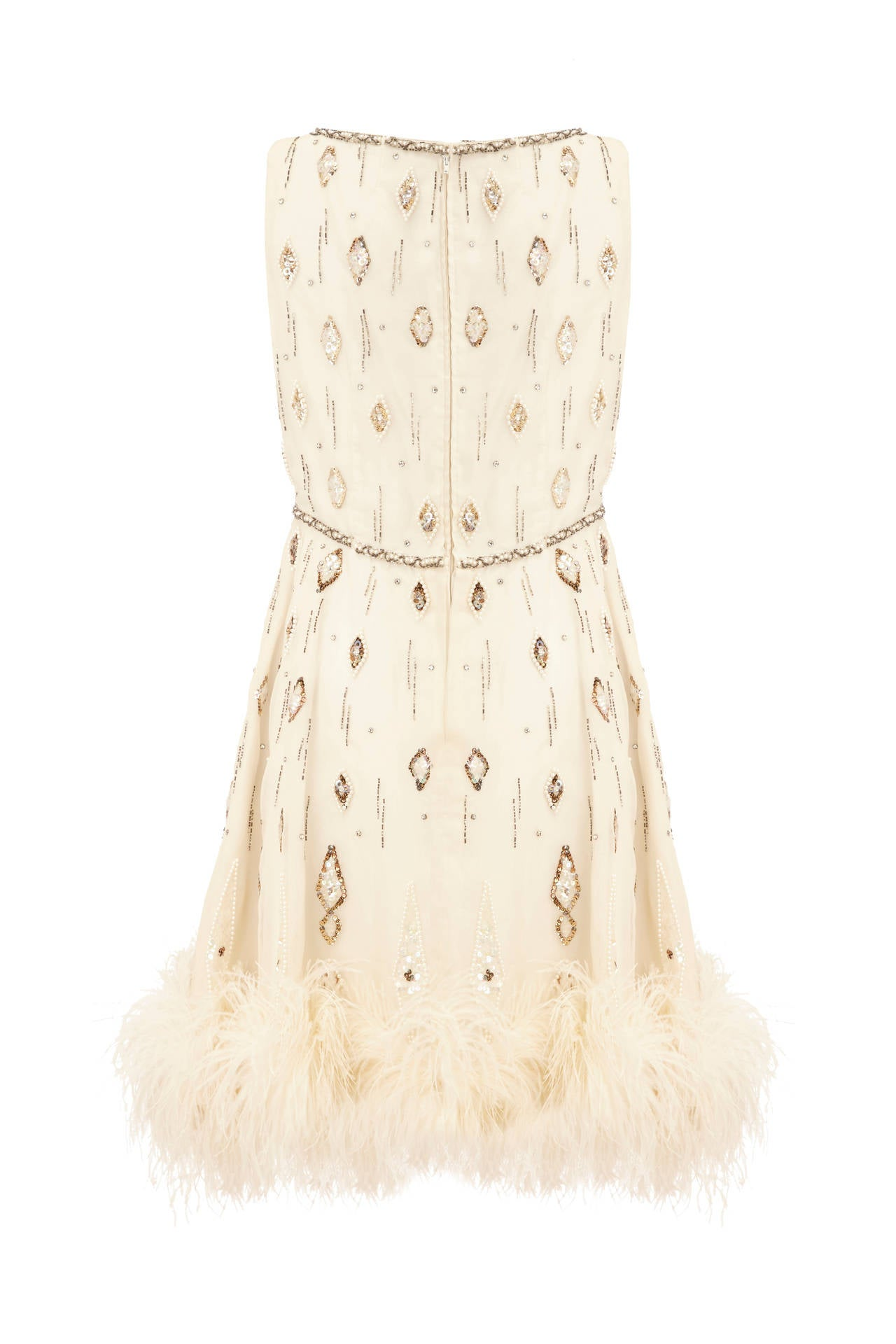 1960s White Beaded Dress With Feather Trim 2