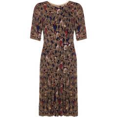 1940s Crepe Dress with Farm Scenes