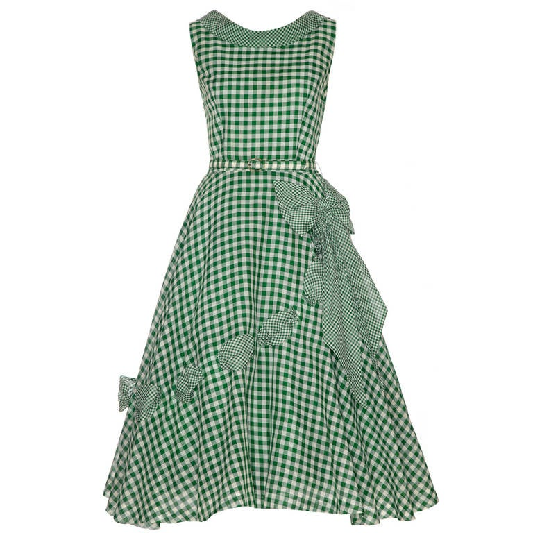 1950s Green Gingham Ribbon Dress 1